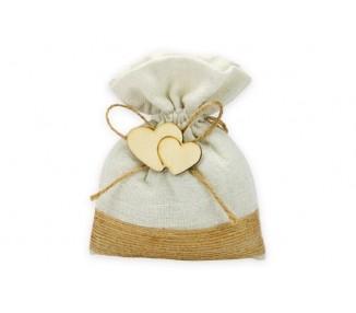Sacchetto cotone con ricamo juta ed applicazione doppio cuore legno