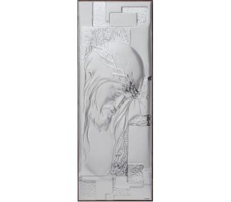 Icona  cristo in argento legno