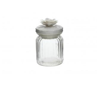 Barattolo in vetro a righe con tappo in porcellana fiore