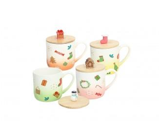 Tazza da latte in porcellana con tappo in legno natalizia capienza cc 370 assortita 4 modelli