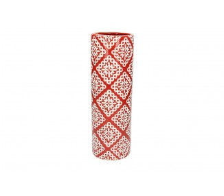 Vaso cilindrico rosso Burlesque linea Ceramica