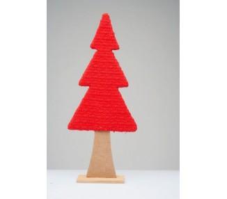 Albero di natale da appoggio in legno con rivestimento in lana rosso