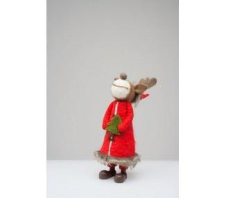 Renna natalizia in feltro con alberello