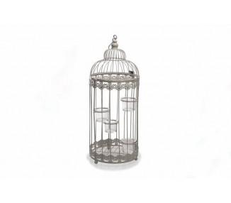 Gabbia in ferro tonda grigia con vasetti in vetro porta candela