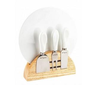 Set da formaggio piatto con tre coltellini in base magnetica