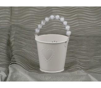 Secchiello bianco in metallo con manico in perle