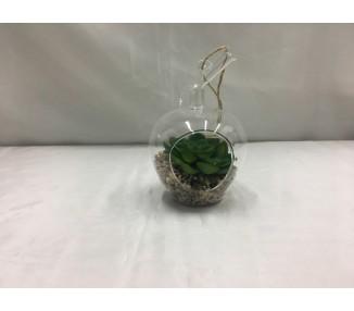 Mela in vetro con piantina artificiale 8x7x11,7 cm.