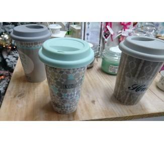 Bicchiere con coperchio assortiti nei colori cm d10xh14