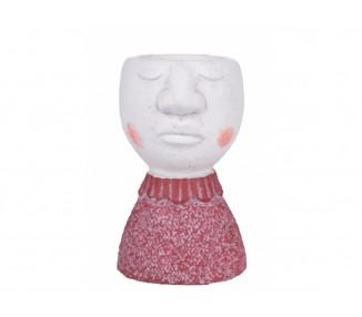 Vaso testa donna h.15,5 cm. Pink