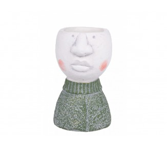 Vaso testa uomo h.15,5 cm.green