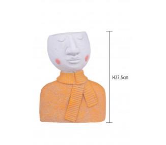 Vaso testa donna h.27,5 cm. Ocra