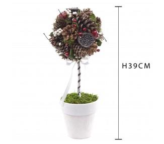 Albero sfera c/pigne-bacche h.39 cm