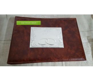 Album pelle marrone e argento 35x25 cm