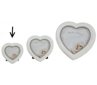 Portafoto cuore shabby piccola bianca