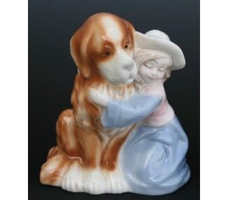 Bimba celeste con cane