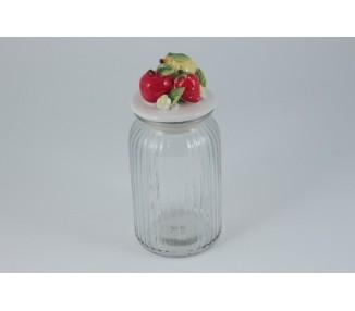 Barattolo in vetro con tappo in ceramica decoro frutta